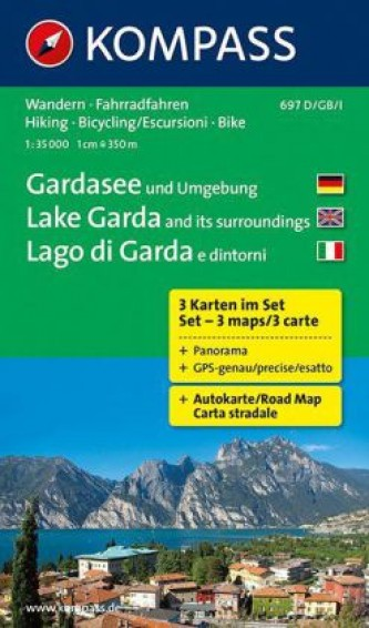 Kompass Karte Gardasee und Umgebung, 3 Bl.. Lake Garda and its surroundings, 3 Bl.. Lago di Garda e dintorni, 3 Bl.